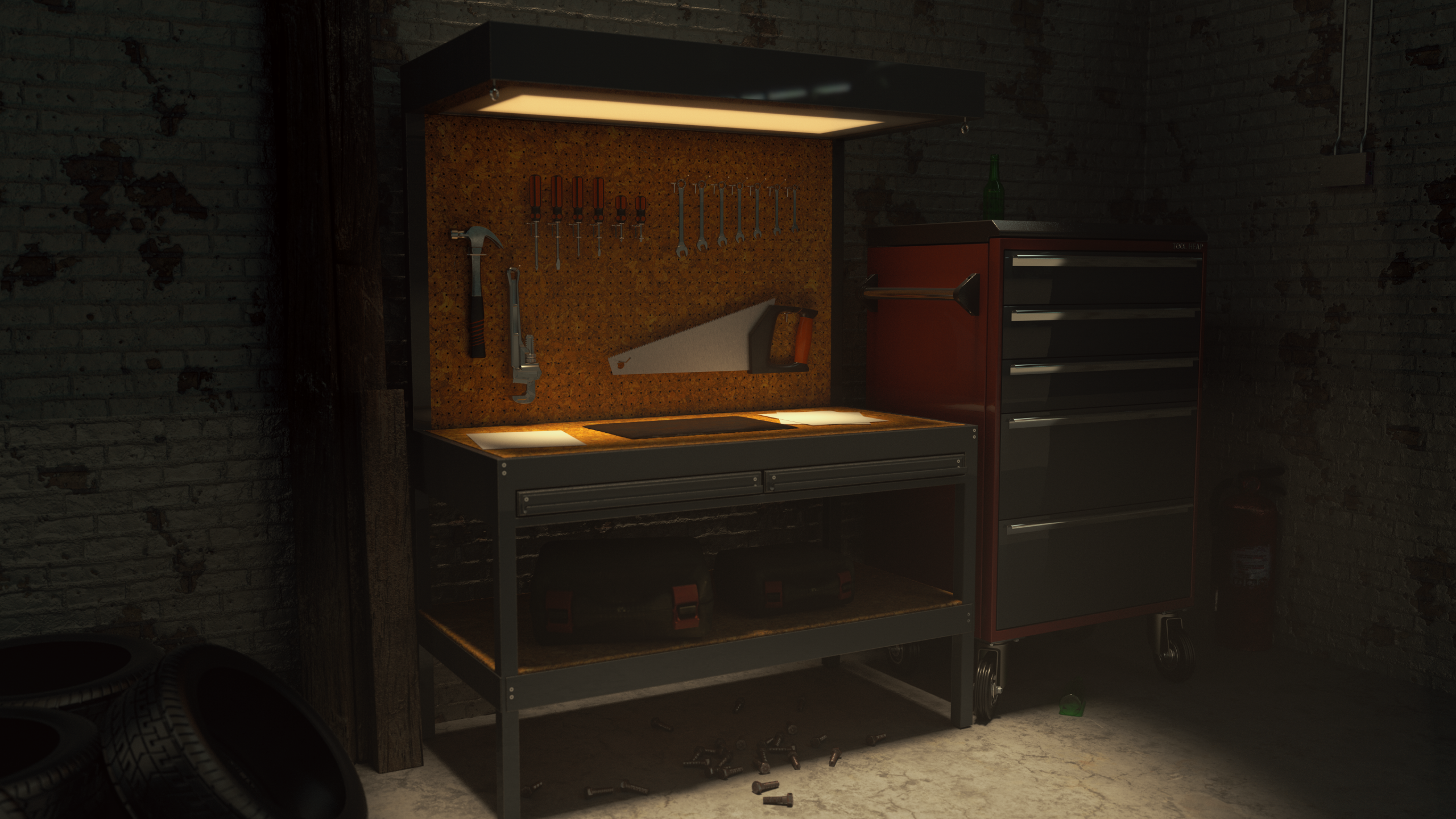 Garage Tool Bench Render with Redshift