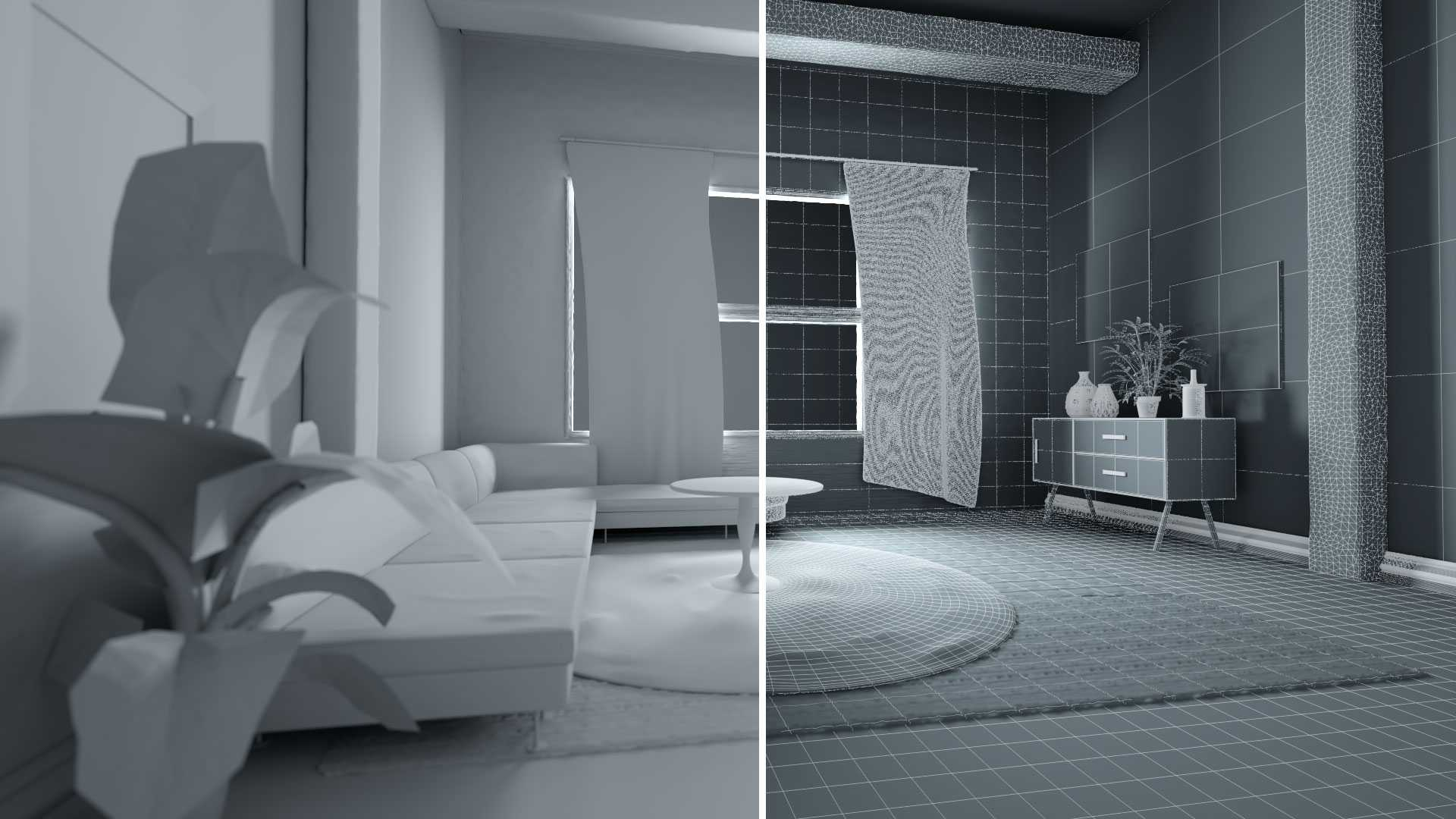 Clay Render - Living Room