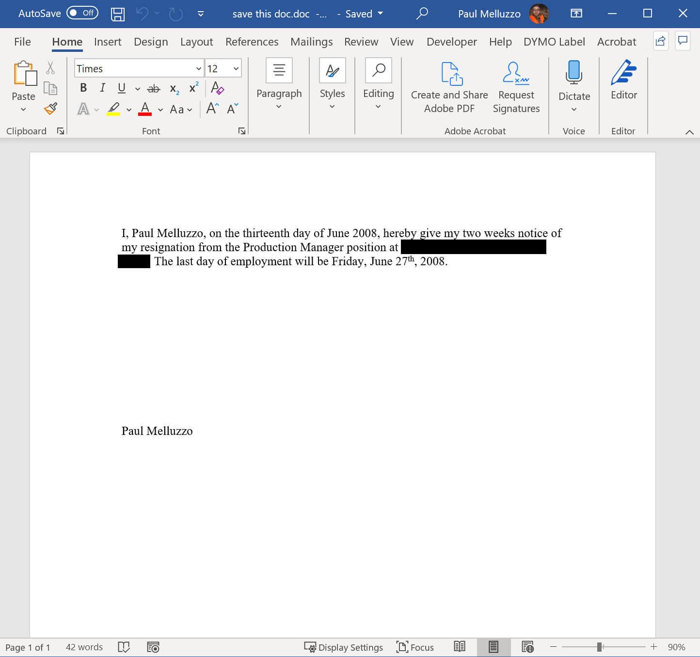 Resignation Letter 2008